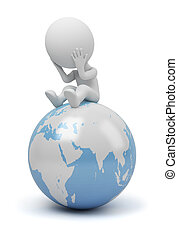 3d, קטן, אנשים, -, גלובלי, שאל