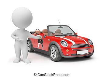 3d, קטן, אנשים, -, מפתחות של מכונית