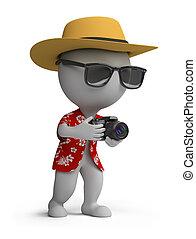 3d, קטן, אנשים, -, תייר, עם, a, מצלמה