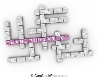 3d, イメージ, 交通機関, 単語, 雲, 概念