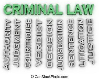 3d, イメージ, 犯罪者, 法律, 単語, 雲, 概念