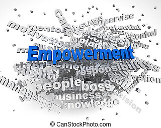 3d, イメージ, empowerment, 問題, 概念, 単語, 雲, 背景
