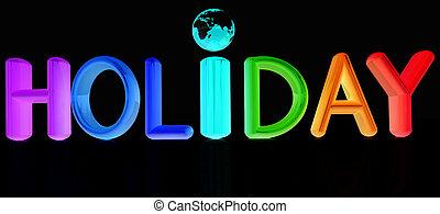 """3d, カラフルである, テキスト, """"holiday"""""""