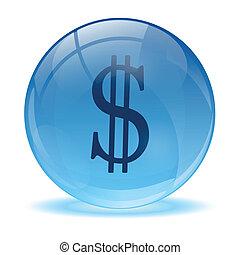 3d, ガラス, 球, そして, dolar, アイコン
