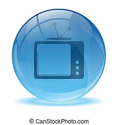 3d, ガラス, 球, そして, tv, アイコン