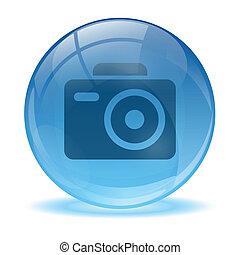 3d, ガラス, 球, 写真, アイコン