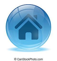 3d, ガラス, 球, 家, アイコン