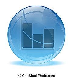 3d, ガラス, 球, 統計値, アイコン