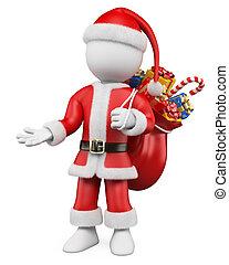 3d, クリスマス, 白, 人々。, サンタクロース, 指すこと, ∥で∥, 1(人・つ), 手