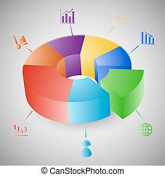 3d, グラフ, infographic, チャート, パイ