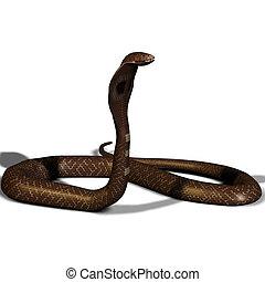 3d, コブラ, 白, 隔離された, ヘビ