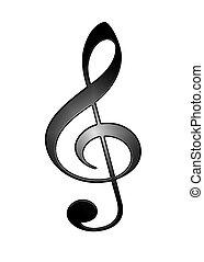 3d, シンボル, ト音譜表, 隔離された, 白, 背景