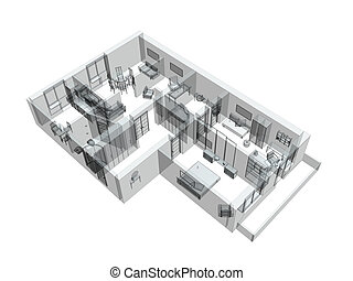 3d, スケッチ, の, a, four-room, アパート