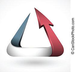 3d, スタイル, 三角形, ベクトル, 矢