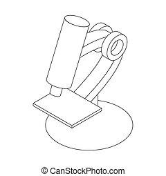 3d, スタイル, 顕微鏡, 等大, アイコン