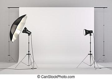 3d, スタジオ, セットアップ, ∥で∥, ライト, そして, 白い背景