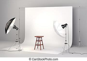 3d, スタジオ, セットアップ, ∥で∥, ライト, a, 木製の椅子, そして, 白い背景