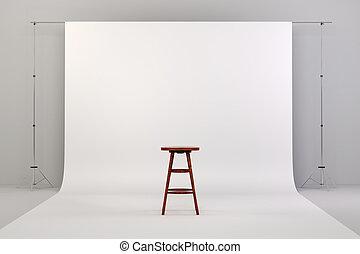 3d, スタジオ, セットアップ, ∥で∥, 木製の椅子, そして, 白い背景