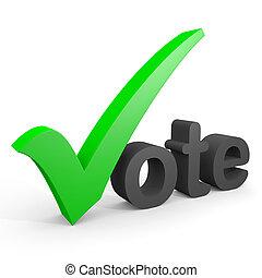 3d, テキスト, vote., 緑, カチカチいいなさい, 取り替えること, 手紙, v.