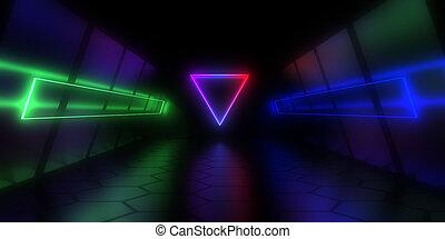 3d, トンネル, イラスト, 抽象的, 建築, light., ネオン