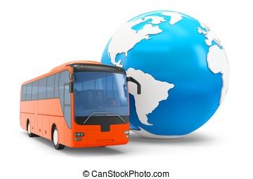 3d, バス, 旅行, のまわり, 地球