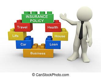 3d, ビジネスマン, そして, 保険証券, おもちゃのブロック