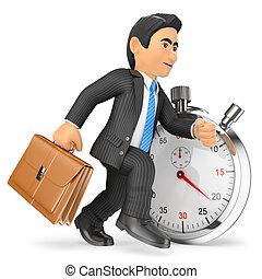 3d, ビジネスマン, 仕事, に対して, stopwatch., 時間, 概念