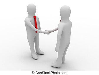 3d, ビジネスマン, 握手