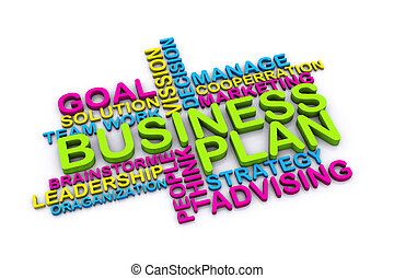 3d, ビジネス計画, 概念