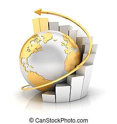 3d, ビジネス, 地球, ∥で∥, 棒グラフ