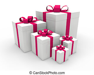 3d, ピンク, 贈り物の箱, クリスマス