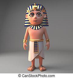 3d, ファラオ, 漫画, tutankhamun, イラスト, まだ 立つこと, 特徴