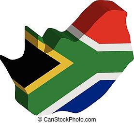 3d, ベクトル, 旗, 地図, の, 南, アフリカ。
