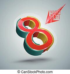 3d, ベクトル, 8, style., 数