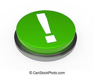 3d, ボタン, 緑, 叫び 印