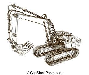 3d, モデル, 掘削機