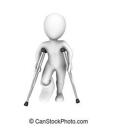 3d, レンダリングした, 白, 人間, ∥で∥, 松葉杖