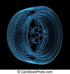 3d, レンダリングした, 青, 透明, 白熱, 自動車, タイヤ