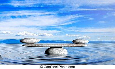 3d, レンダリング, の, バランスをとる, 禅, 石, 中に, 水, ∥で∥, 青い空, そして, 平和である, 景色。