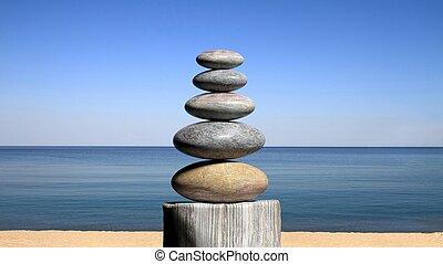 3d, レンダリング, の, バランスをとる, 禅, 石, 浜, ∥で∥, 青い空, そして, 平和である, seascape.