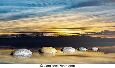 3d, レンダリング, の, 禅, 石, 中に, 水, ∥で∥, 日没の 空, そして, 平和である, 景色。