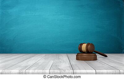 3d, レンダリング, の, a, ブラウン, 木製である, 裁判官, 小槌, そして, 音, ブロック, あること, 上に, a, 木製のテーブル, に対して, 青, バックグラウンド。