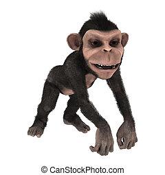 3d, レンダリング, わずかしか, チンパンジー, 白