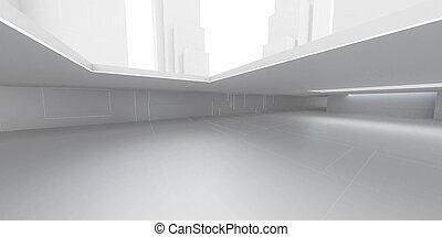 3d, レンダリング, 抽象的, 未来派, 建物, 背景, イラスト, 明るい ライト, 都市, 地下室, 現代, グランジ, デザイン, コンクリート