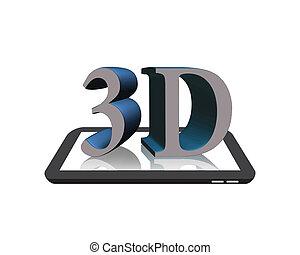 3d, 上に, ∥, デジタルタブレット