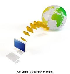 3d, 世界的である, ファイル転送, 概念