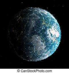 3d, 世界的である, 技術, そして, ネットワーク, コミュニケーション, 背景