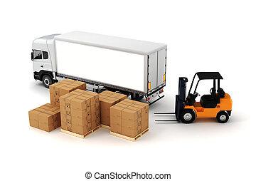 3d, 世界的である, 貨物, 輸送, 概念