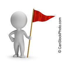 3d, 人々, 赤, -, 小さい, 旗