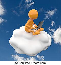 3d, 人々, 雲, 計算